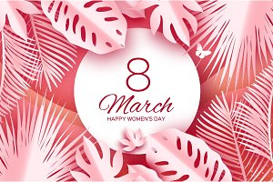 Tropical 8 March. Coral Womens day