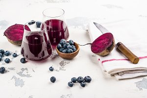 Fresh Beet and blueberry juice
