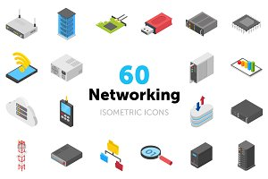 60 Networking Isometric Icons