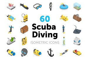 60 Scuba Diving Isometric Icons