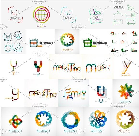 Universal line logos set