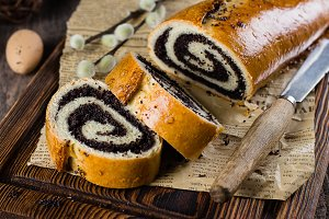 Poppy seed  bread on easter table