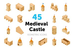 45 Medieval Castle Vector Icons