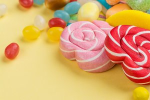 Candies, lollipops, jelly worms