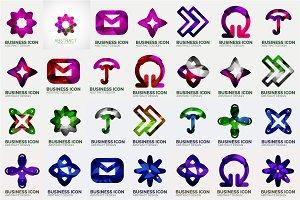 Trendy line logos set