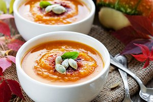 Bowls of pumpkin soup
