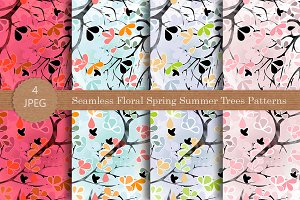 Seamless Floral Spring Trees Pattern