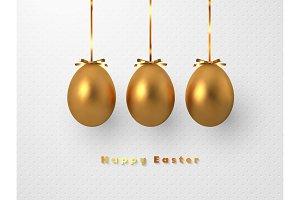 3d metallic golden eggs hanging foil
