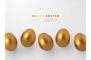 3d metallic golden eggs.