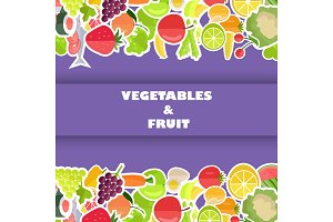 Healthy Food Banner with Fruits and