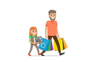 Father and Daughter Go Shopping