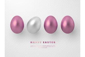 3d metallic rose gold and white eggs