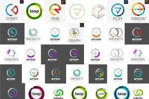 Modern geometric logotypes set