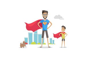 Father and Adorable Son Superheroes