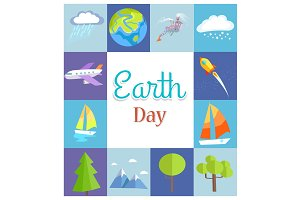 Earth Day Poster with Illustrations