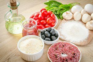 Ingredients for pizza on the board