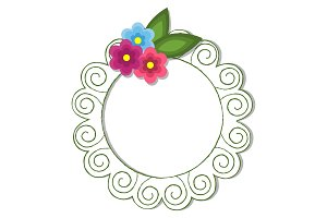 Vintage Round Frame with Flowers