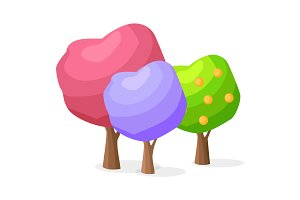 Set of Purple, Pink, Green Tree with