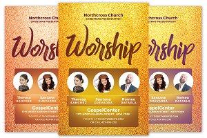 Golden Worship Church Flyer