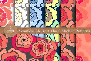 Seamless flowers modern patterns set
