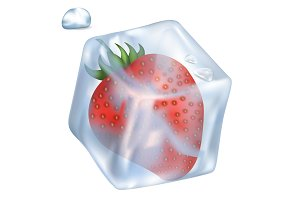Strawberry in Ice Cube and Bubble