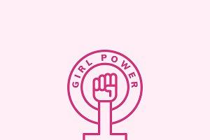 Girl power emblem badge illustration
