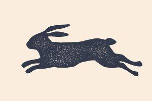 Rabbit, hare, silhouette. Vintage