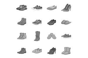Shoe icons set, gray monochrome