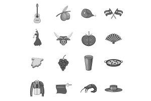 Spain icons set, gray monochrome