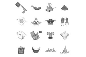 April fools day icons set, gray