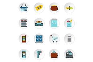 Supermarket icons set, flat style