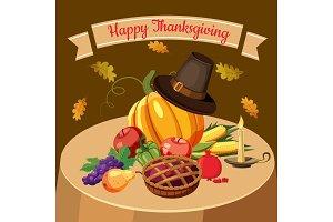 Thanksgiving Day concept, cartoon