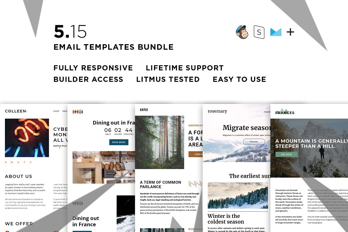 5 Email templates bundle XV