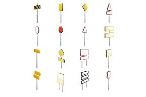 Road signs icons set, cartoon style