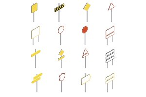 Road signs icons set, isometric