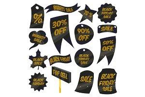 Black Friday Sales labels icons set