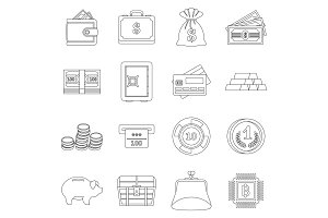 Different money icons set, outline