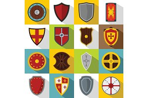 Shield frames icons set, flat style