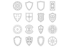 Shield frames icons set, outline