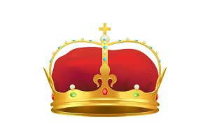 Golden Monarchical Crown with Stones