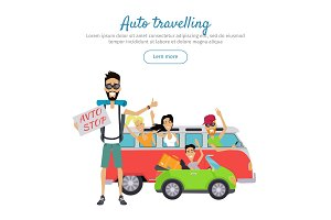 Auto Traveling Flat Design Vector