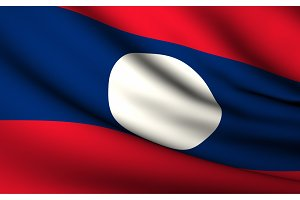 Flying Flag of Laos . All Countries