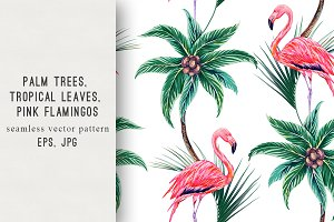 Tropical leaves,flamingo pattern