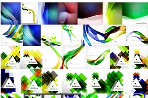 Trendy geometric backgrounds set