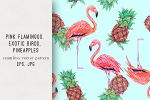 Pineapples,flamingo tropical pattern