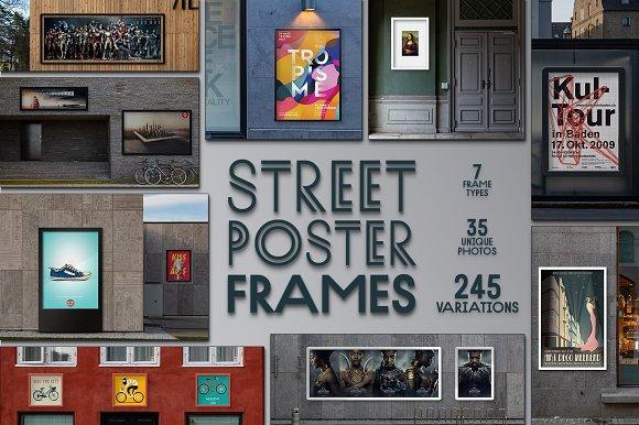 Street Poster Frames 35 Mockups Creative Photoshop Templates Creative Market