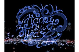 Happy new year words lettering