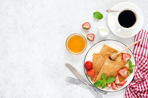 Crepes, thin pancakes or blini