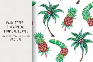 Palm trees, pineapples pattern