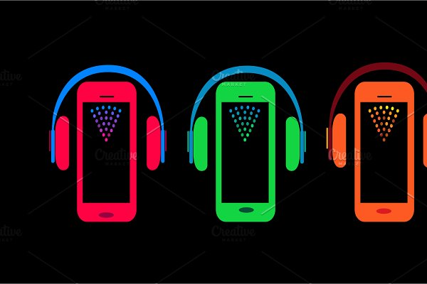 Mobile phone icons with headphone